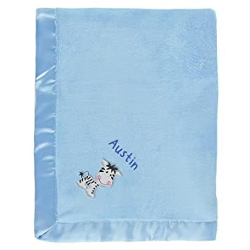 Amazon Austin Personalized Baby Blanket Blue With Zebra