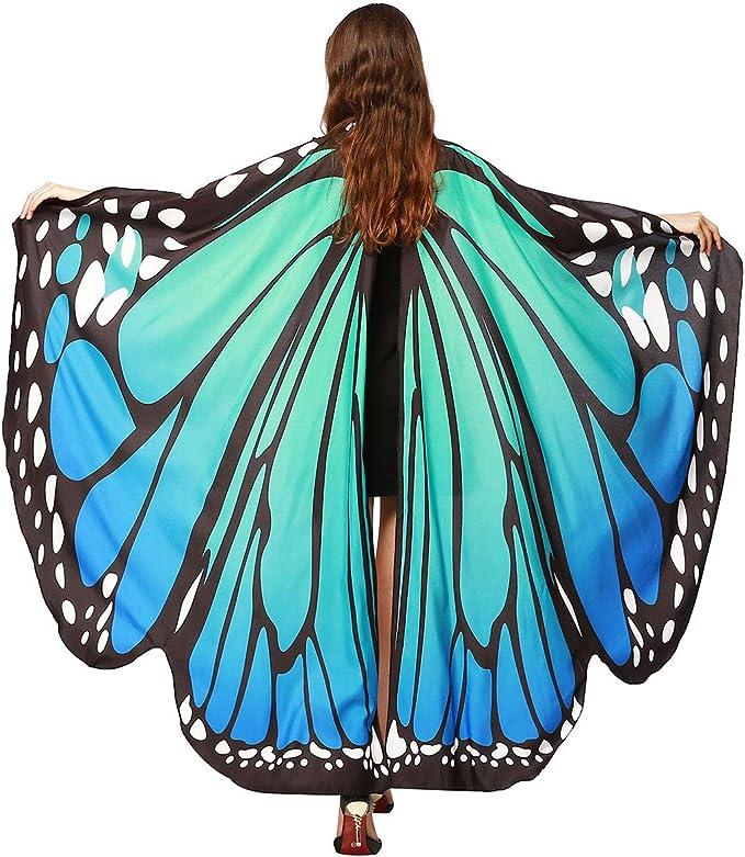 Disfraz de alas de mariposa para mujer adulta con capa de hada grande para Halloween, Azul/Verde, L: Amazon.com.mx: Ropa, Zapatos y Accesorios