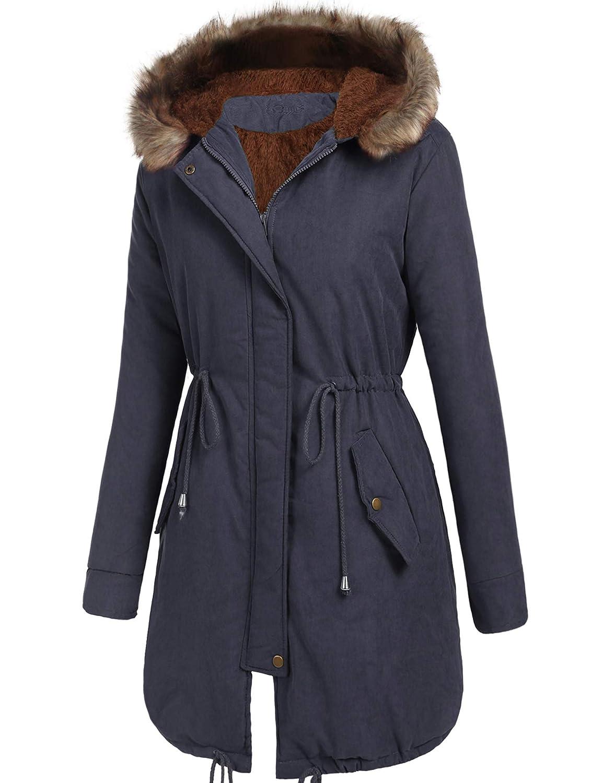 75081b841 Beyove Women Winter Warm Hoodie Faux Fur Lined Down Parka Outdoor Long  Jacket Coats