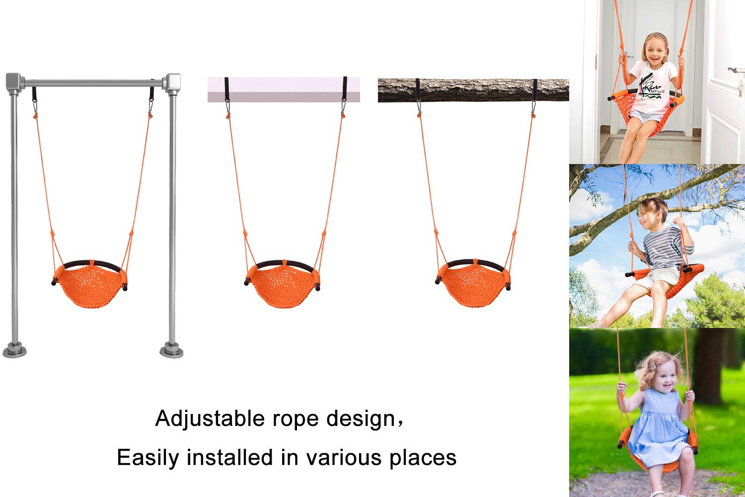 JKsmart Swing Seat for Kids Heavy Duty Rope Play Secure Children Swing Set,Perfect for Indoor,Outdoor,Playground,Home,Tree,with Snap Hooks and Swing Straps,440 lbs Capacity,Orange(Patent Pending) by JKsmart (Image #4)