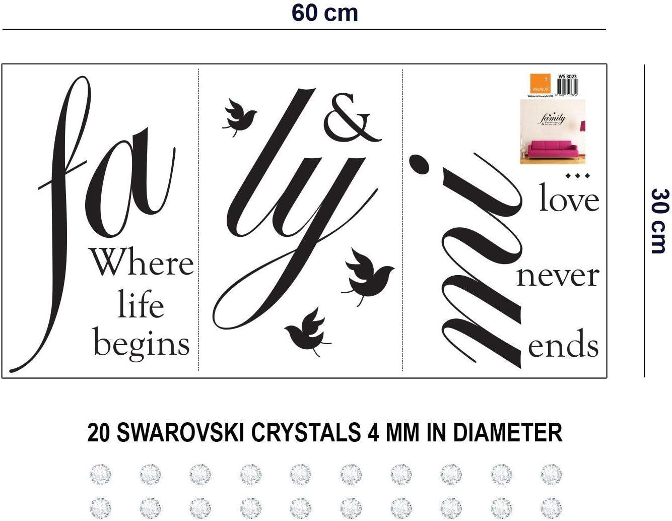Wallflexi Stickers muraux Cristaux Swarovski /& Famille Citations Stickers muraux D/écoration Salon Chambre denfant Restaurant Cafe Bureau D/écor