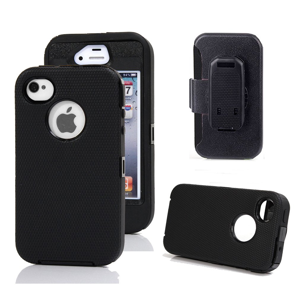 iPhone 4s Case, Harsel Defender Series Heavy Duty Tough Rugged High Impact Armor Hybrid Military with Belt Clip Built-in Screen Protector Case Cover for Apple iPhone 4s/4g (Black/Black)