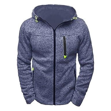 Männer Reißverschluss Hoody,Moonuy Männer Baumwolle Hoody Reißverschluss  Slim Hoodies Langarm-Sweatshirts Solid Farben Pullover Charm Coat, dünne  Jacke für ... 9c425d8cbd