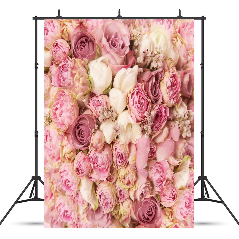 写真撮影用背景幕 バラの花 5x7フィート バレンタインデー ピンクの花 恋人 結婚式 ベビーシャワー 写真ブース スタジオ小道具 QRJ-082   B07MPTZ1W7