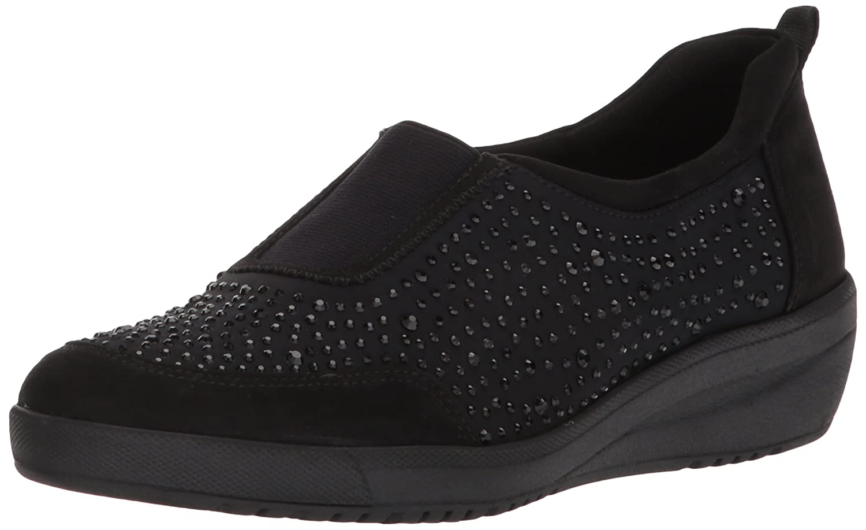 Anne Klein Women's Yury Slip Sneaker B0777QHB8B 7.5 B(M) US|Black/Multi Fabric