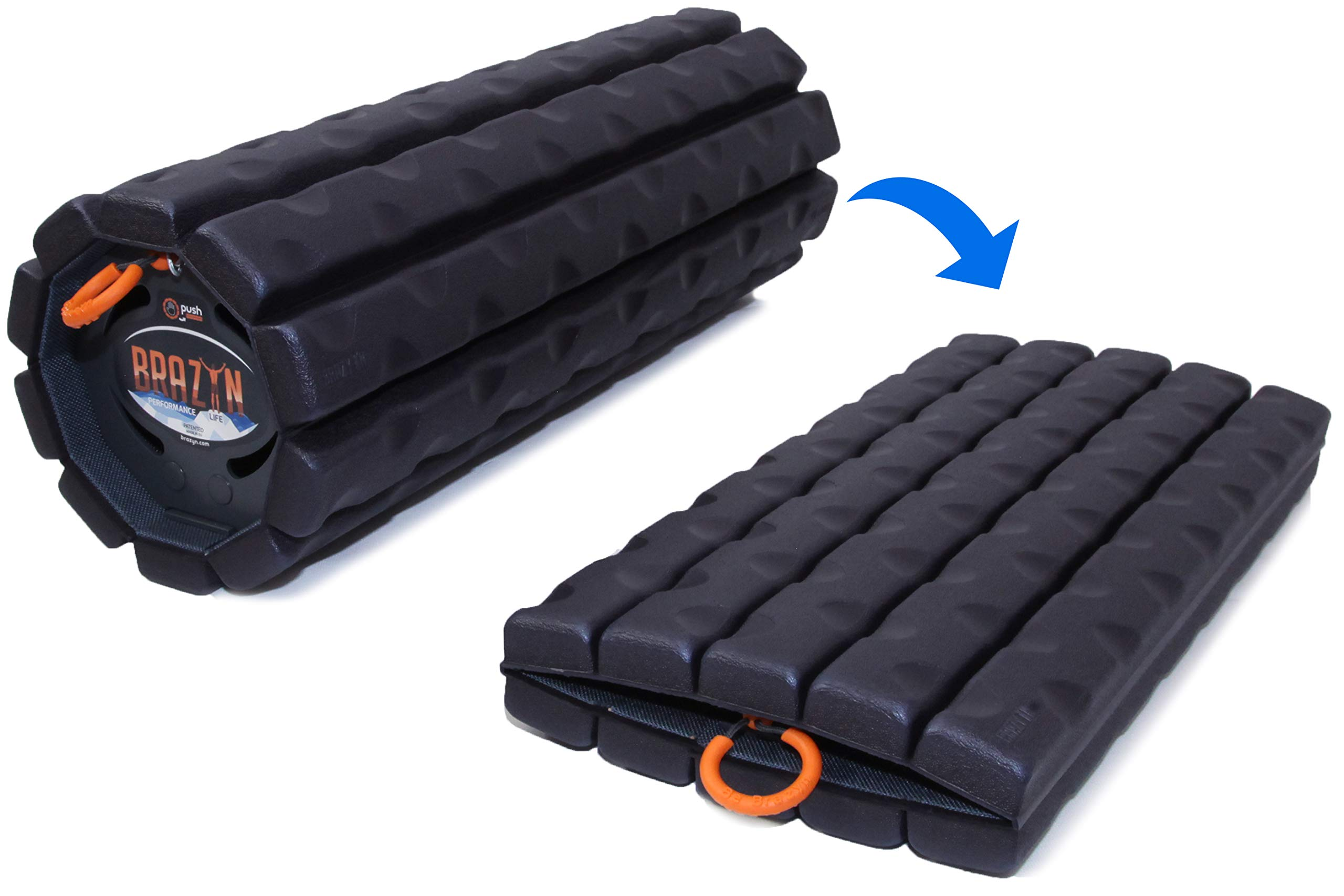 Brazyn Morph Bravo Foam Roller - Collapsible & Portable Muscle Roller for Travel Myofascial Release, Massage, Back Pain, and Increasing Physical Mobility - As Seen on Shark Tank (Midnight Blue)