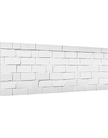 Bilderwelten Panel antisalpicaduras de Cristal - White Stone Wall - Panorámico, Panel antisalpicaduras Panel de