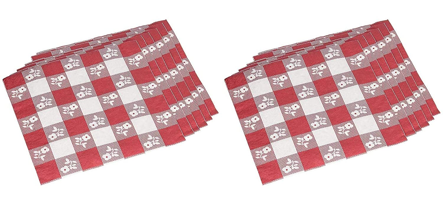 12 7//8 in x 12 3//4 in Two-Ply 50 Each Red Gingham Paper Napkins