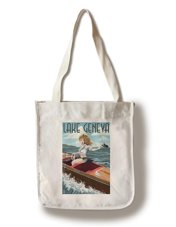 【通販 人気】 ジュネーブ湖、ウィスコンシン – Tote Bag Pinup Girl Boating Canvas Tote Pinup Bag LANT-41957-TT B01841WPKE Canvas Tote Bag, 朗読社:1226323d --- ballyshannonshow.com
