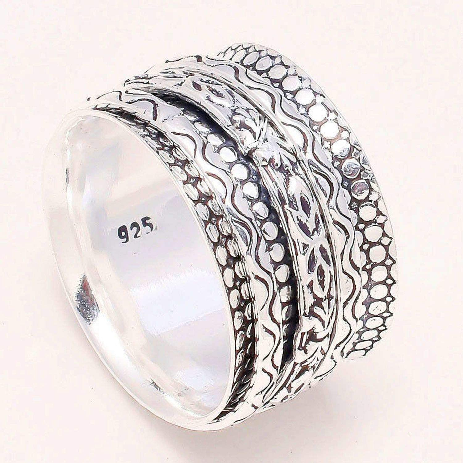 Meditation Ring Spin-Pray Ring6us JewelsExporter Sterling Silver Ring.Spinner Ring