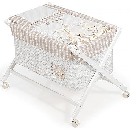 Minicuna mibebestore Plegable Conejo Baby BEIGE: Estructura + Vestidura + Colcha Desenfuntable + Colchón + Almohada: Amazon.es: Bebé