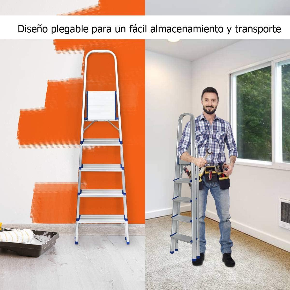 COSTWAY Escalera Dom/éstica de Aluminio Escalera Tijera de 3 Pelda/ños Plegable con Apoyabrazos Carga hasta 150KG