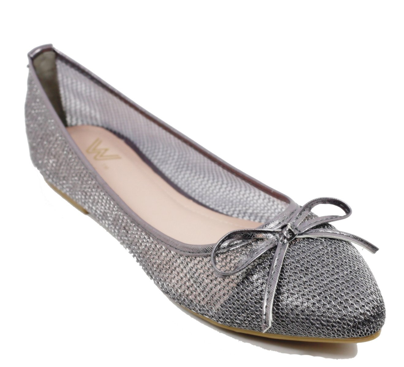 Walstar wedding shoes for bride Flat Shoes Mesh Flat Shoes B073WHPN5F 8 B(M) US|Pewter