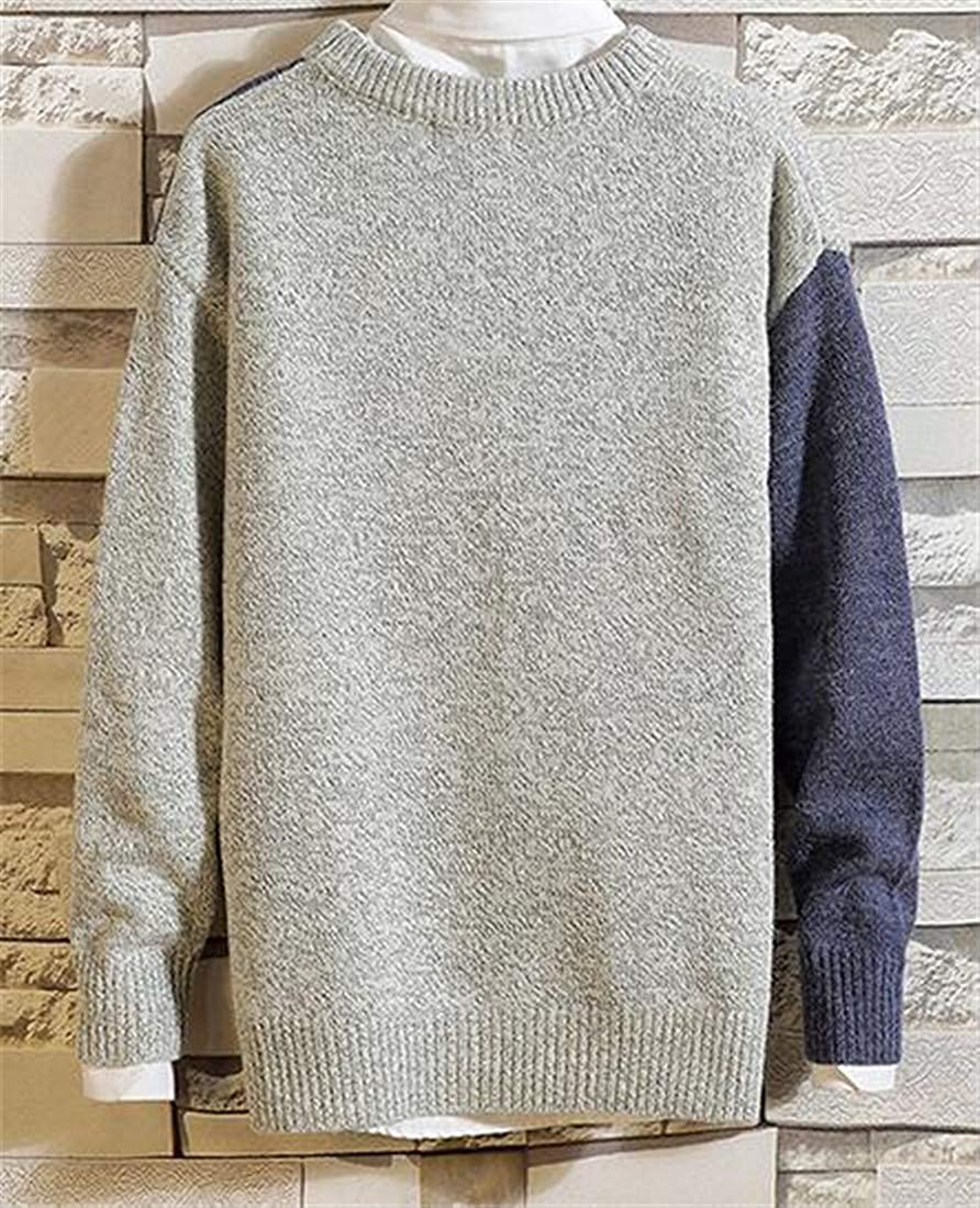 Sweatwater Mens Round Neck Knitwear Casual Pullover Contrast Colors Jumper Sweaters