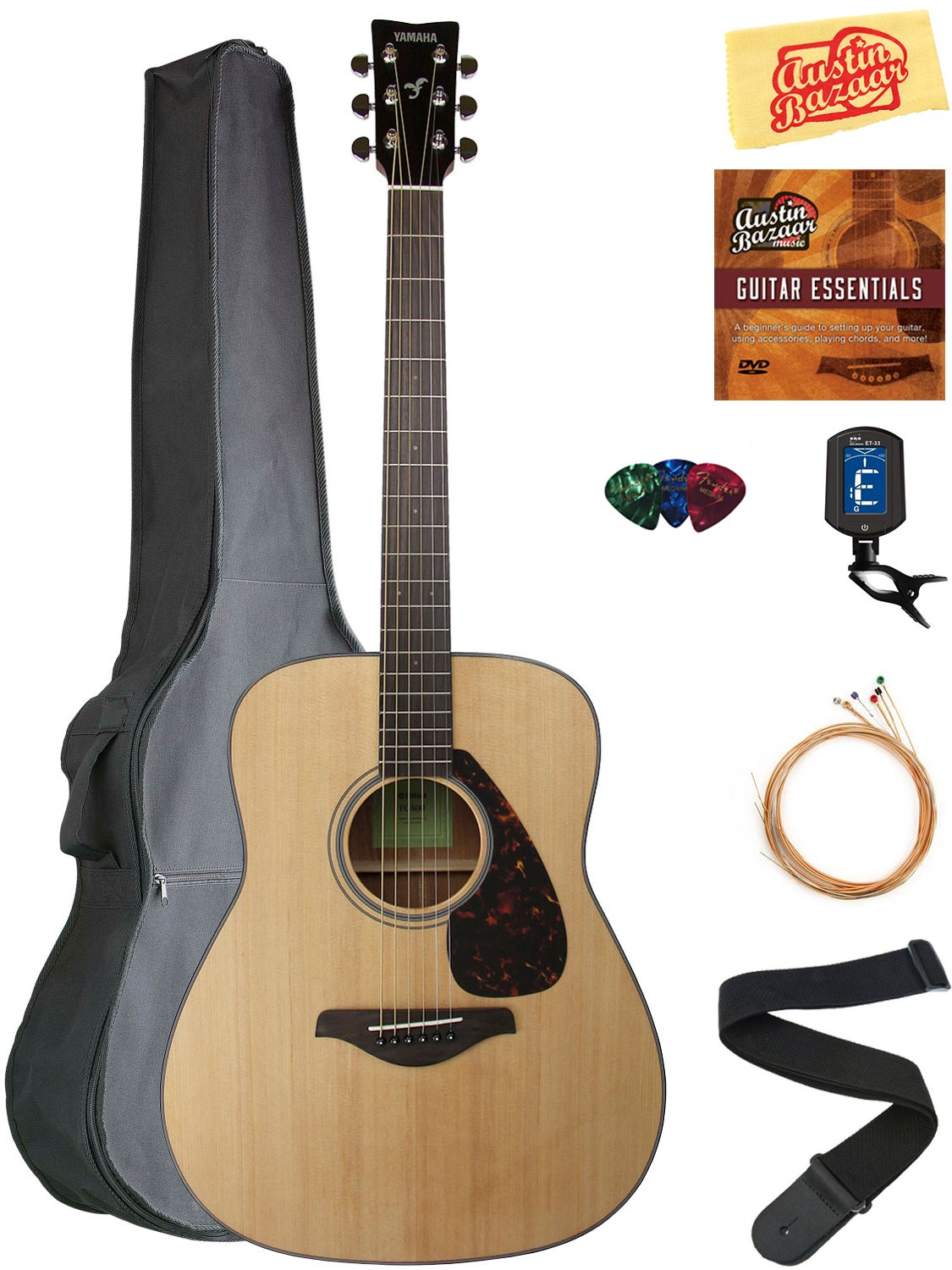Yamaha FG800 Solid Top Folk Acoustic Guitar - Natural Bundle with Gig Bag, Tuner, Strings, Strap, Picks, Austin Bazaar Instructional DVD, and Polishing Cloth by YAMAHA