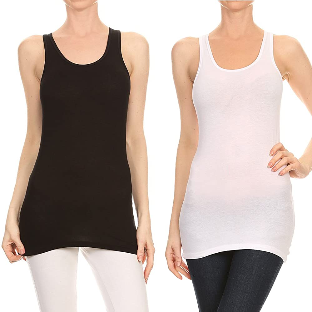 f694c2ed0c4a3 RouA Women s Basic Workout Camisole Round Neck Racerback Tank top (Pack of  ...