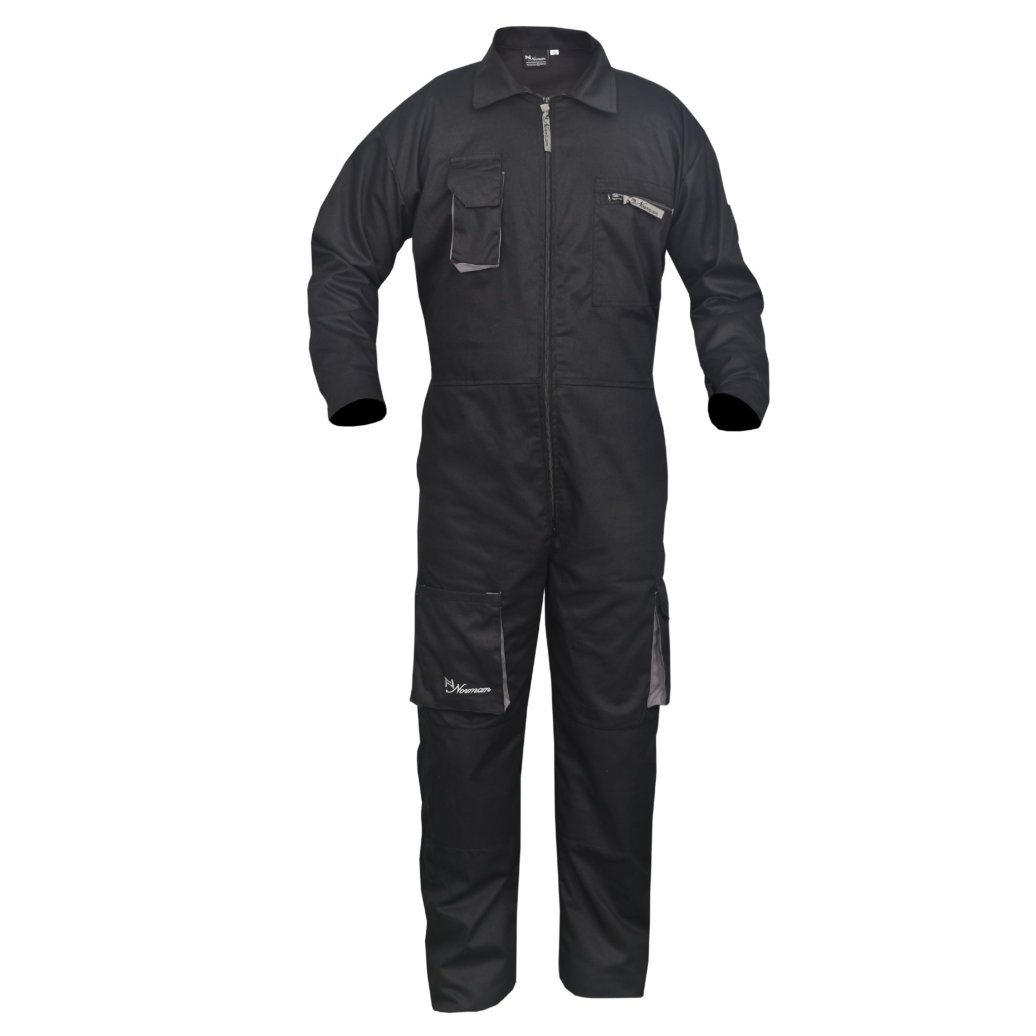 Black Work Wear Men's Overalls Boiler Suit Coveralls Mechanics Boilersuit Protective (3XL)