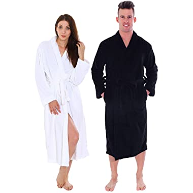 Couple Robes Set - Plus Long Length Bathrobe with Pockets Adjustable Belt
