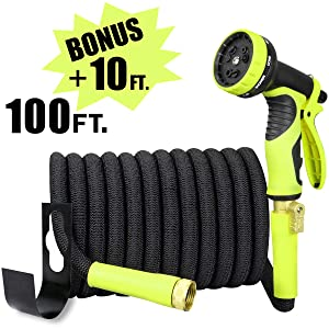 Sunflora 100 ft Expandable Garden Hose Bonus 10 feet with Solid Brass Fittings and 9 Patterns Spray Nozzle, Flexible No Kink Water Hoses for Lawn Total 110 Feet