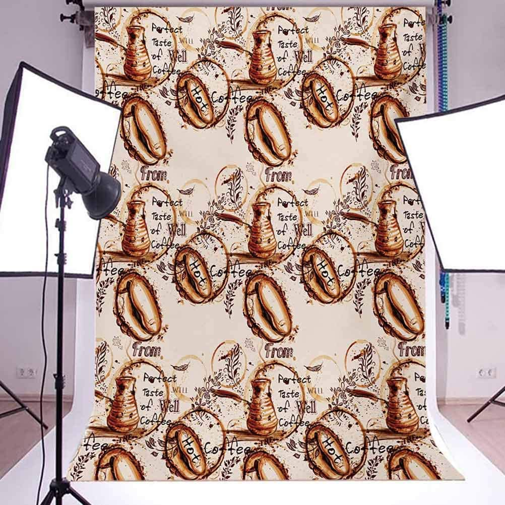 Perfect Taste of Freshly Brewed Coffee Watercolor Style Pattern Aromatic Drink Background for Baby Birthday Party Wedding Vinyl Studio Props Photography Tan and Brown 6.5x10 FT Photography Backdrop