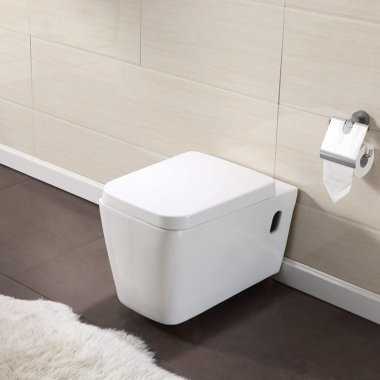 Mecor Wall Hung Bathroom Soft Close Coupled Toilet Soft Close Seat Gloss White