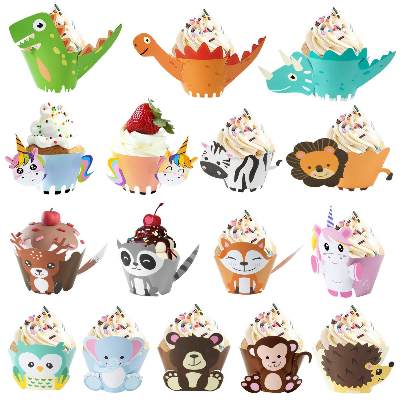 MOOKLIN ROAM Unicorn Cupcake Topper Wrappers 48Piezas Dinosaurio Cupcake Topper Wild Animal Cupcake Wrappers para Ni/ños Infantiles Fiestas de Cumplea/ños Decoraci/ón Suministros