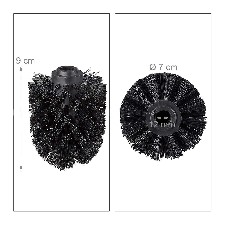 Escobillas de Inodoro Sueltas 12 mm Rosca TOOGOO Cabeza de Escobilla del Inodoro En Un Juego de 5 Negro Cabeza de Escobilla de Repuesto Di/ámetro 7 cm