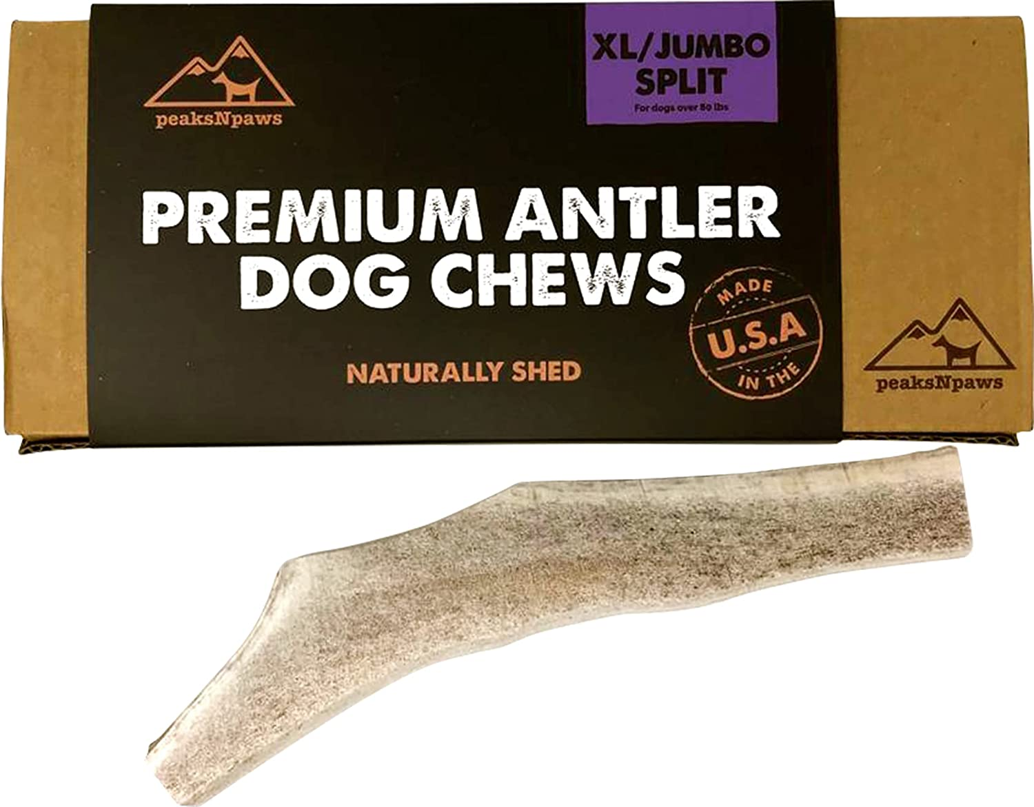 peaksNpaws - Split Antler Dog Treats - Natural Grade A Elk Antlers - Dog Chews for Aggressive Chewers - XL/Jumbo, 1 Chew - No Additives or Preservatives - Nutritious and Delicious, Made in USA