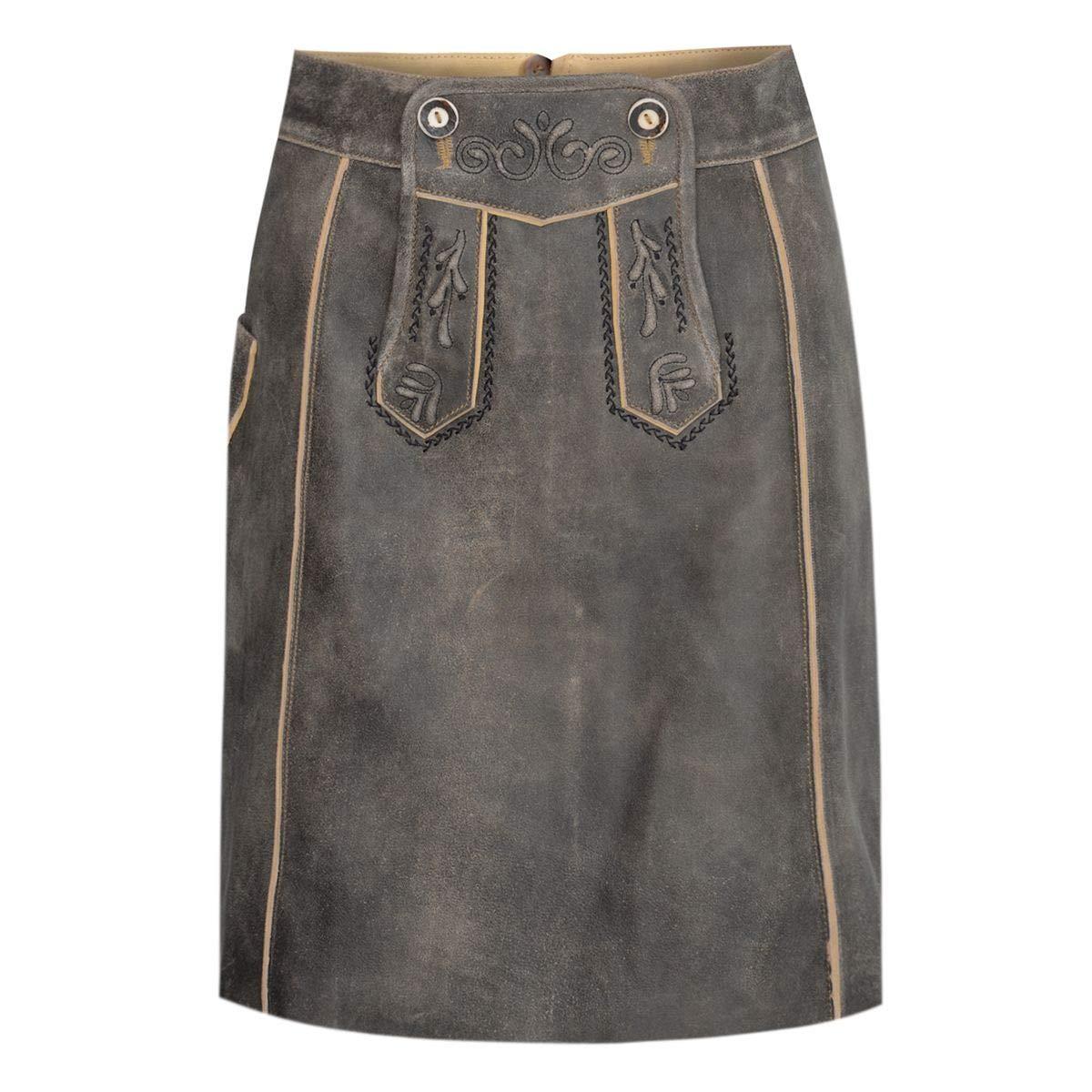 Almsach Damen Trachten-Mode kurzer Lederhosen Rock Vroni in Braun traditionell