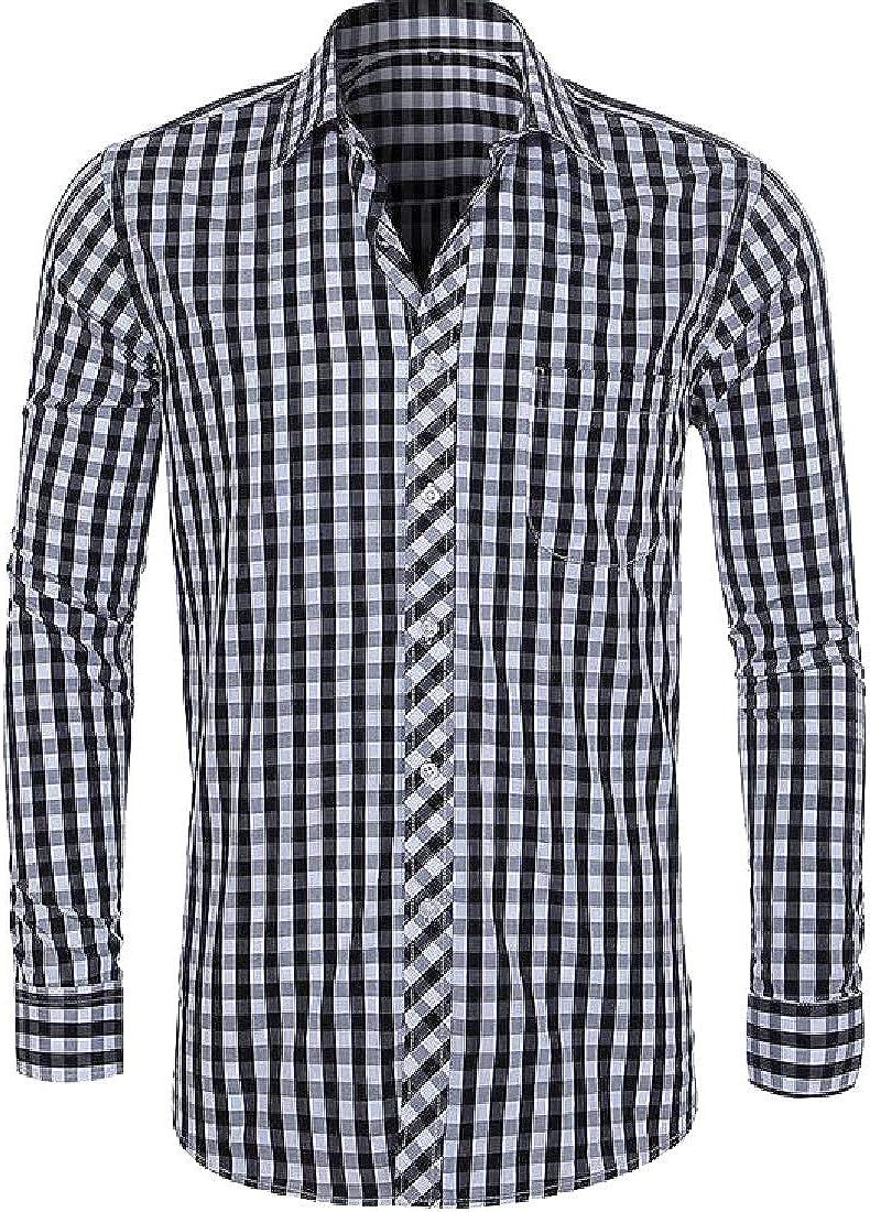 YUSKYMen Slim Button Casual Long Sleeve Plaid Plus-Size Dress Shirts