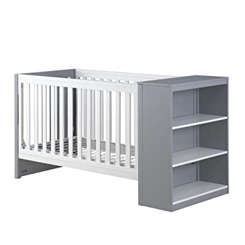 Baby Relax Ayla 2 In 1 Convertible Crib With Storage, White/Gray