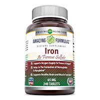 Amazing Formulas Ferrous Sulfate 65 Mg 240 Tablets -Iron As Ferrous Sulfate for...