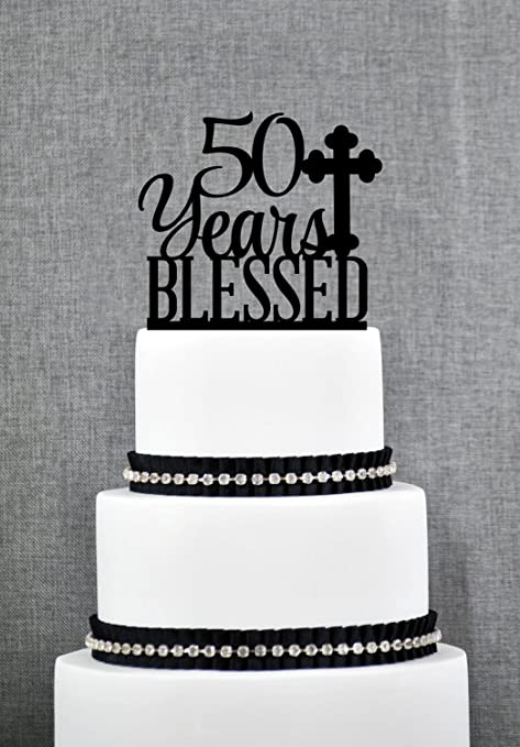 Qidushop 50 Years Blessed Cake Topper For Men Classy 50th Birthday