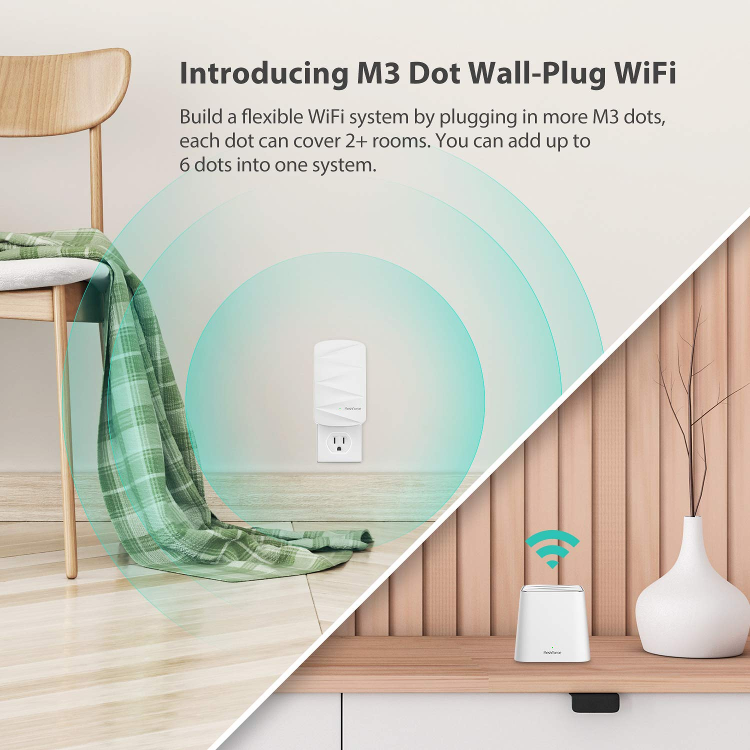 MeshForce Whole Home Mesh WiFi System M3 Suite (1 WiFi Point + 2 WiFi Dot) - Dual Band WiFi System Router Replacement and Wall Plug Extender - High Performance Wireless Coverage for 5+ Bedrooms Home by Meshforce (Image #3)