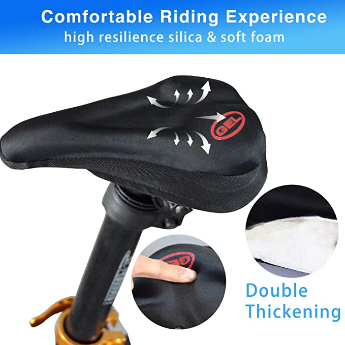 Details about  /Bicycle Seat Saddle Cover Extra Comfort High Density Foam Mesh Cloth