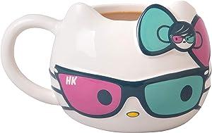 Hello Kitty Ceramic Coffee Mug with Cute Sunglasses and Bow Design - Sanrio - Large 20 oz