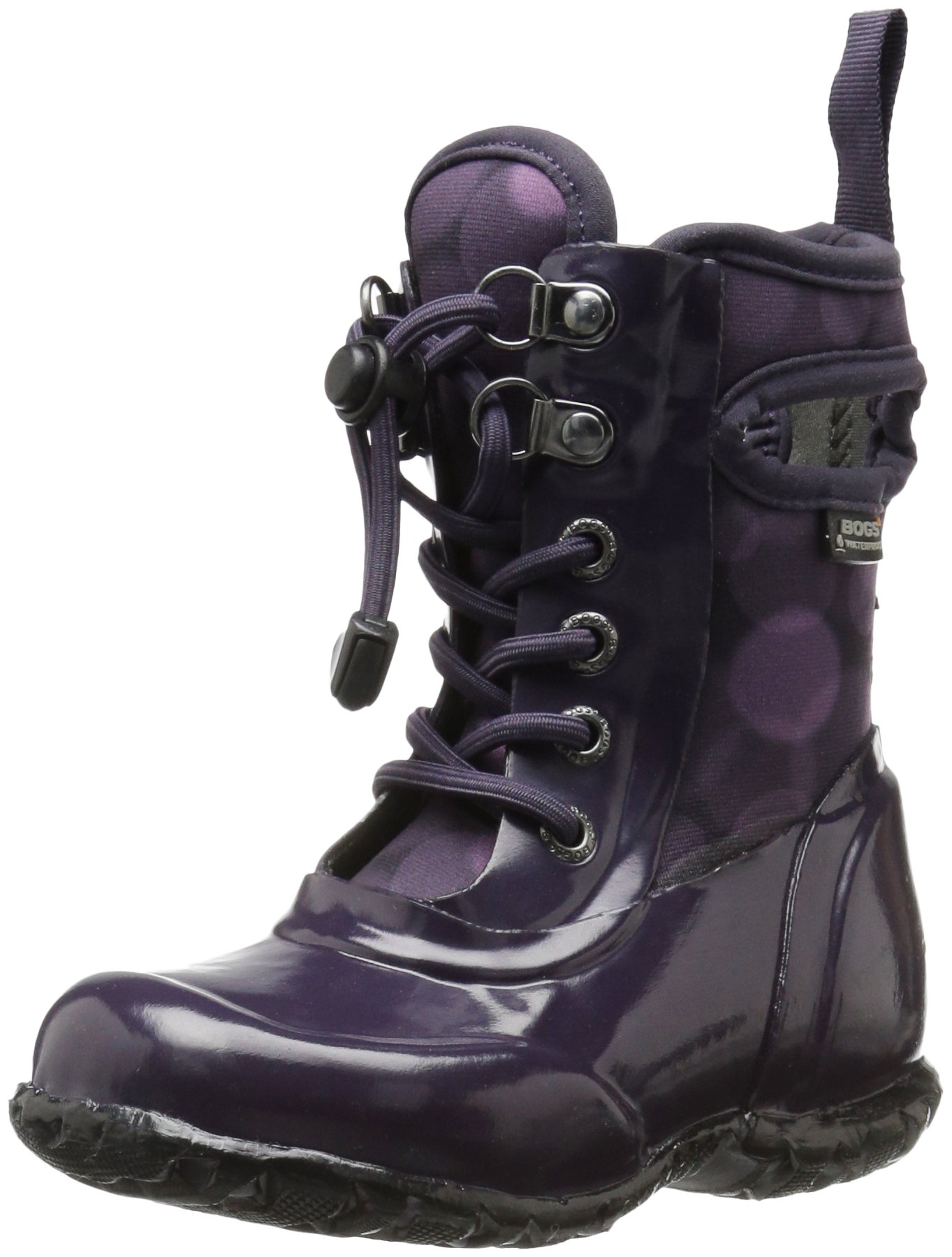 Bogs Sidney Kids Waterproof Lace Up Rain Boot for Boys and Girls, Eggplant/Multi, 7 M US Toddler