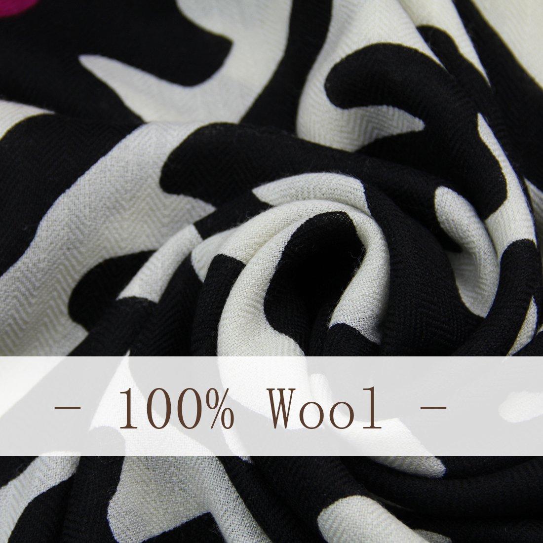 DANA XU 100% Pure Wool Women Winter Large Size Pashmina Travel Shawl (Red) by DANA XU (Image #5)