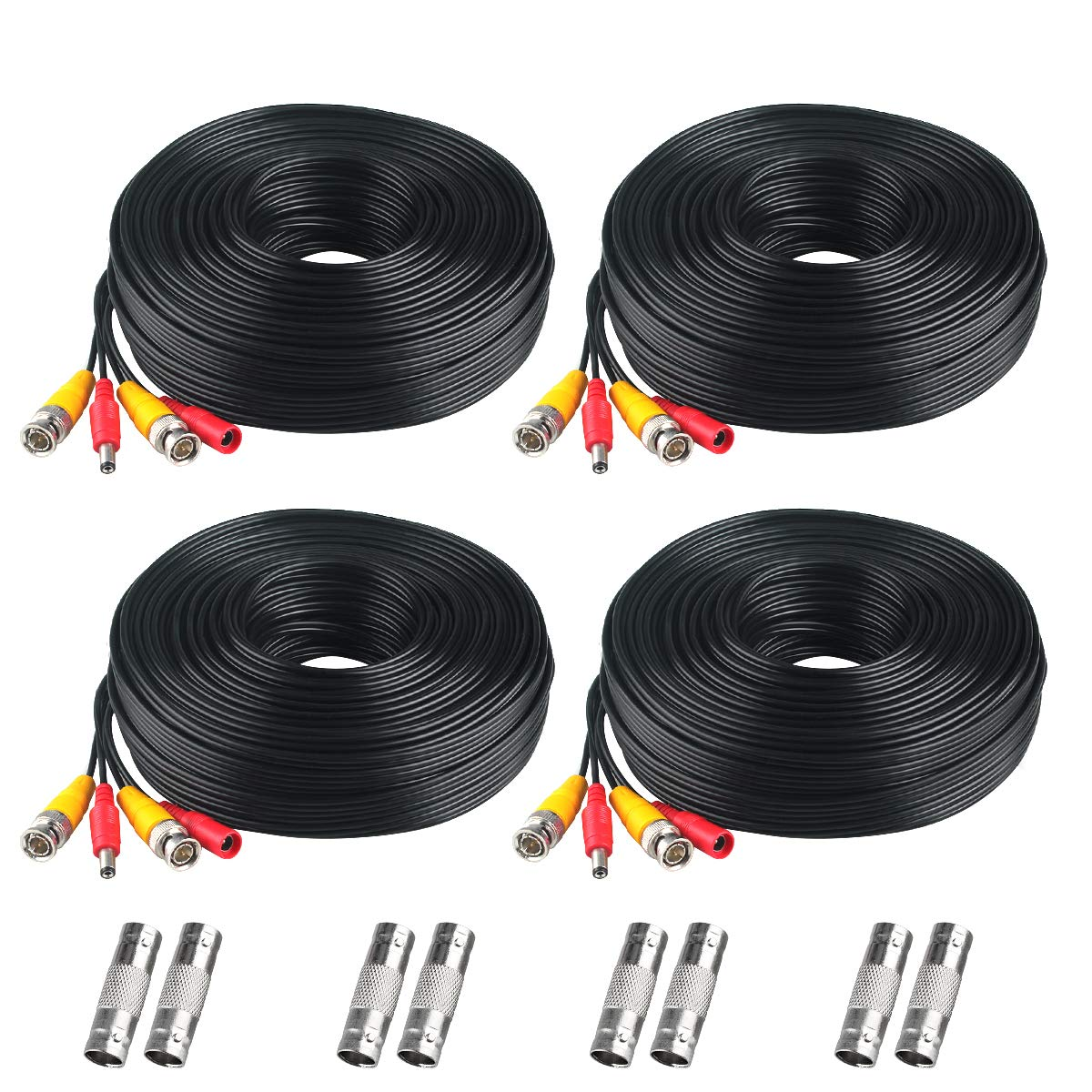BNC Cable, 200ft 4Pack All-in-One Siames Video and Power Security Camera Wire Cord with 2 Female Connectors for All HD CCTV DVR Surveillance System (4x200FT BNC Cable Black)