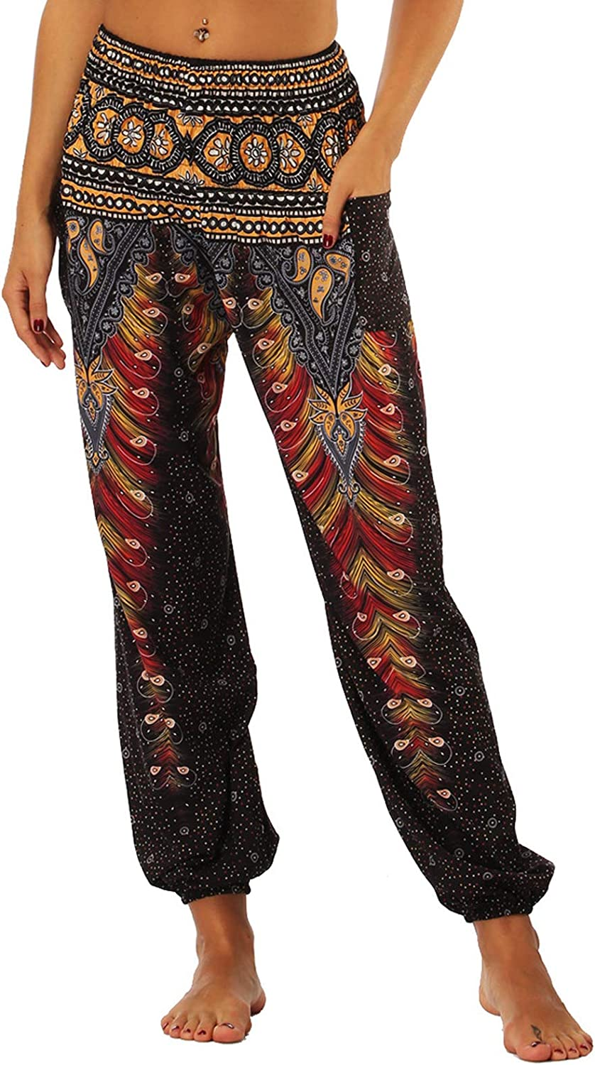 Onsoyours Womens Boho Trousers Harem Ladies Plus Size Floral Printed Loose Elastic Full Length Stretch Casual Pants with Smock Waist and Bohemian Style A Black 1
