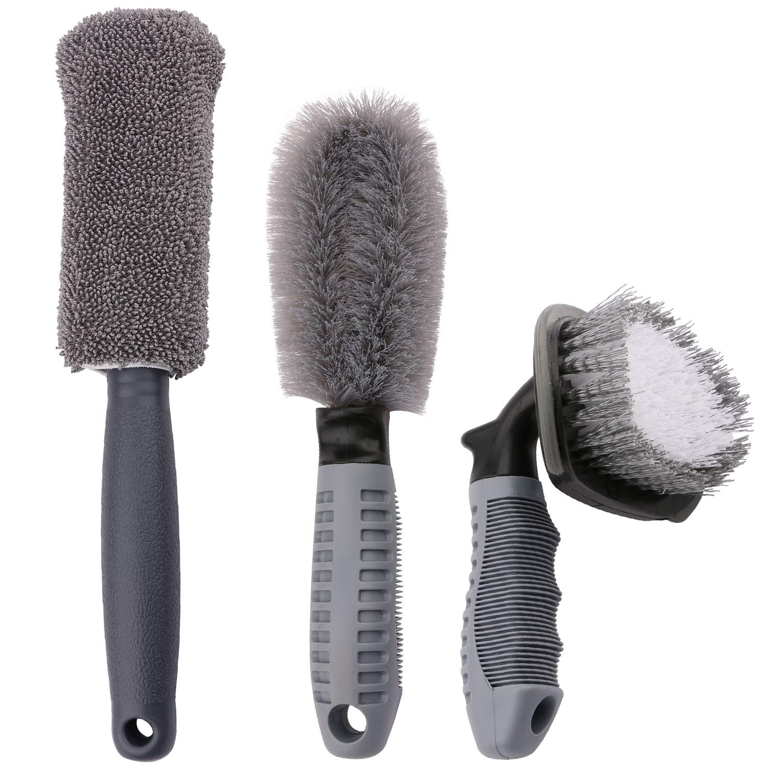 Sdootauto Car Wheel Cleaning Brush, 2 Pcs Tire Rim Scrub Brush and 1 Pcs Fiber Wheel Rim Brush for Auto Motorcycle Bike Wheel Cleaning