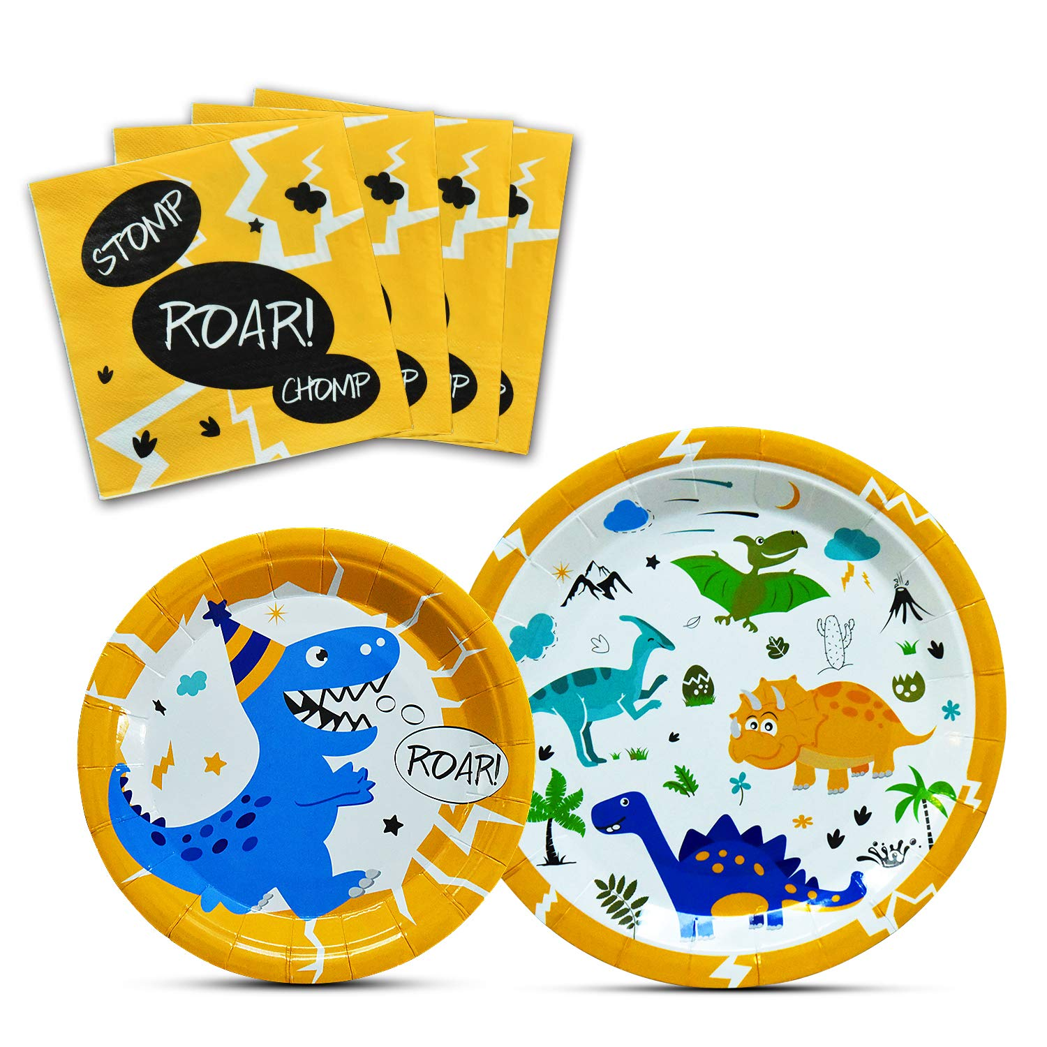 WERNNSAI Dinosaur Party Supplies - Dinosaur Tableware Set for Boys Birthday Baby Shower Dinner Dessert Plates Napkins Serves 16 Guests 48 Pieces by WERNNSAI