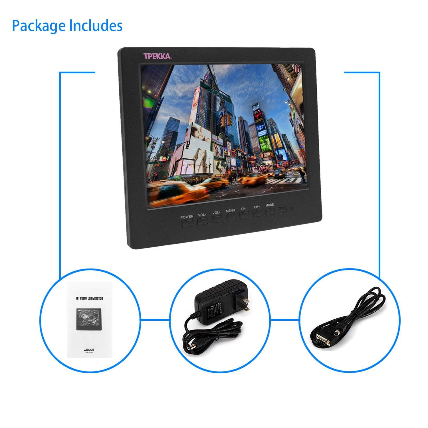 8'' Inch 4:3 Portable Monitor TFT LCD Car Monitor VGA BNC RCA Input TPEKKA 800x600 Monitor Screen for PC Display CCTV Security Cam DV Bcak Up Cam System FPV by TPEKKA (Image #6)