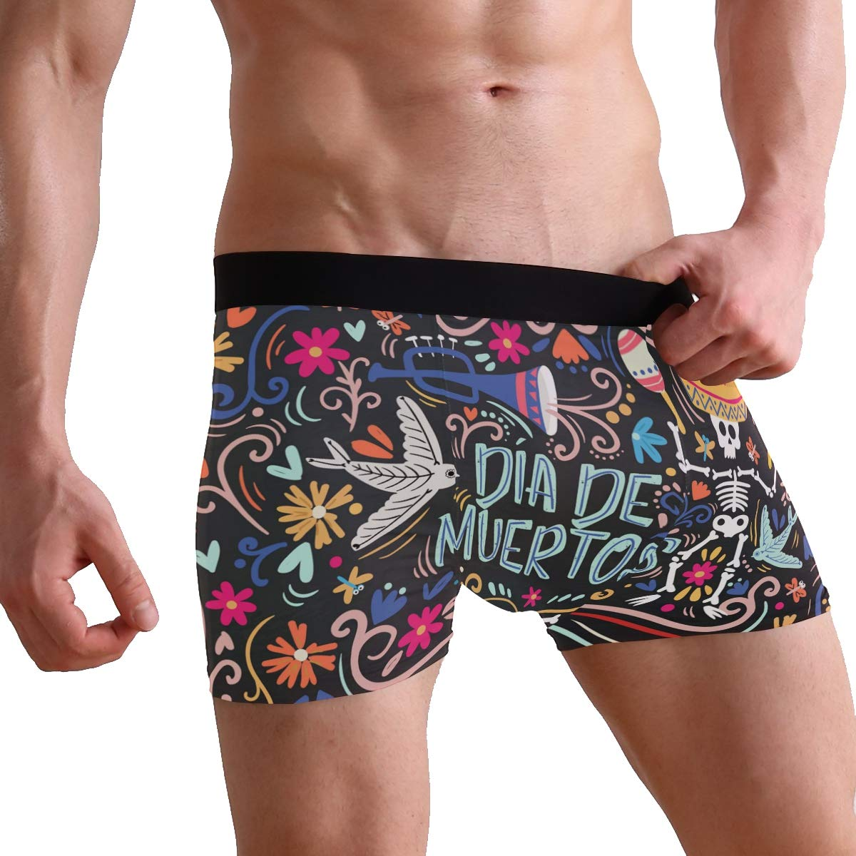 Jojogood Mens Colorful Background for Deads Day Breathable Boxer Soft Briefs Classic Underwear Shorts