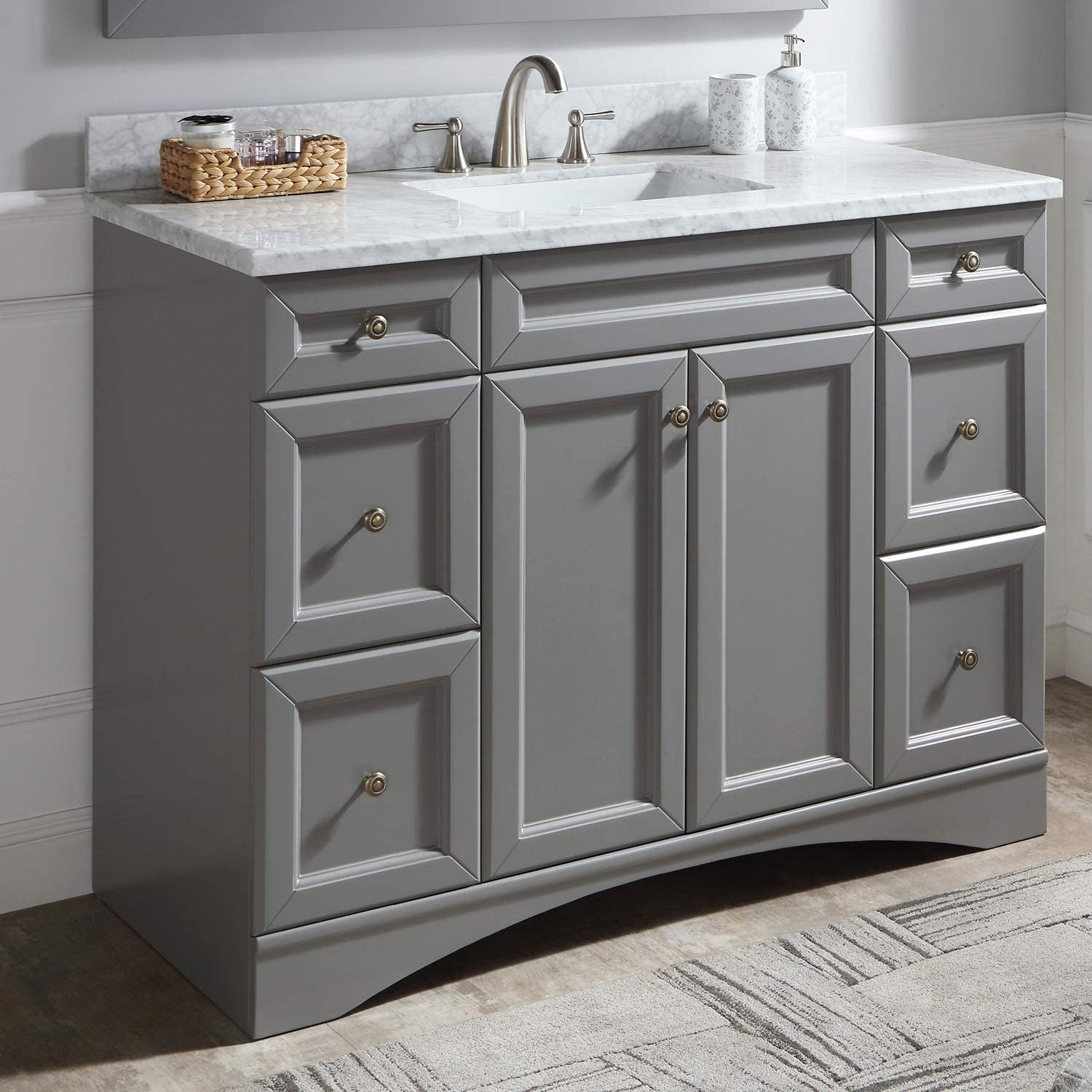 Amazon Com 48 Single Bathroom Vanity In Grey With Marble Top And Round Sink 48 Inches Gray Kitchen Dining