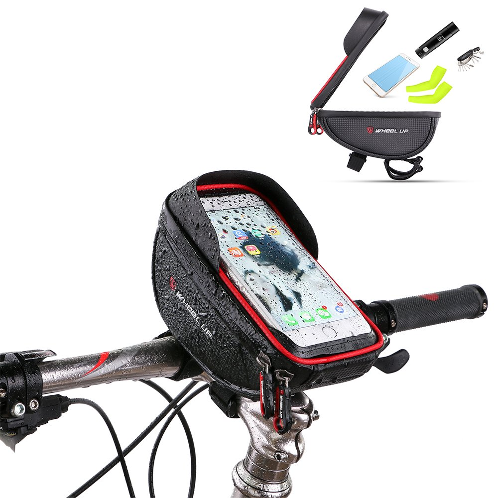 Bike Phone Mount Bag Bicycle Frame Bike Handlebar Bags With Waterproof Touch Screen Phone Case For IPhone X 8 7 6s 6 Plus 5s Samsung Galaxy s7 s6 Note 7 Cellphone Below 6.0 Inch + Rain Cover by YIJUN