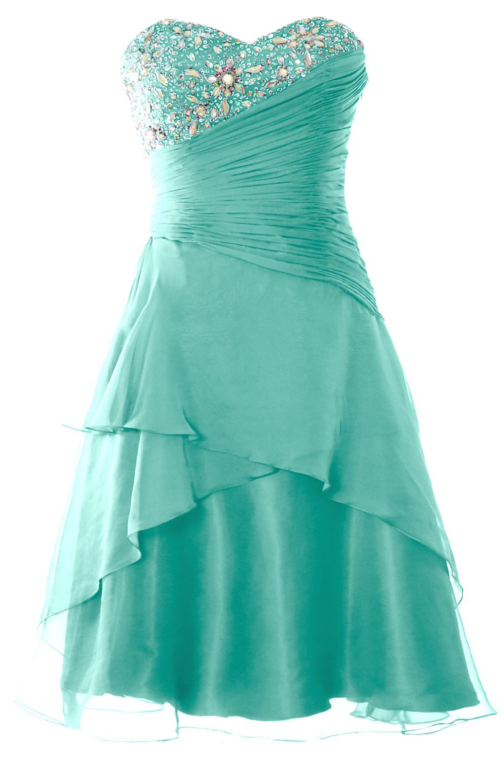 MACloth Women Strapless Short Prom Dress Tiered Cocktail Party Formal Gown (10, Turquoise)