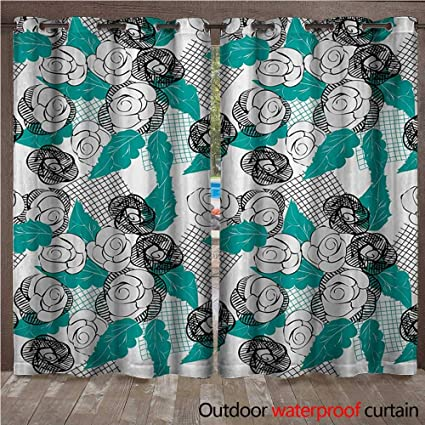 Amazon.com : Floral Grommet Curtain Panel Modern Roses with ...