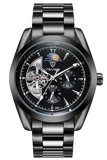 Gute - Reloj mecánico automático para hombre, acero inoxidable, números romanos, color negro