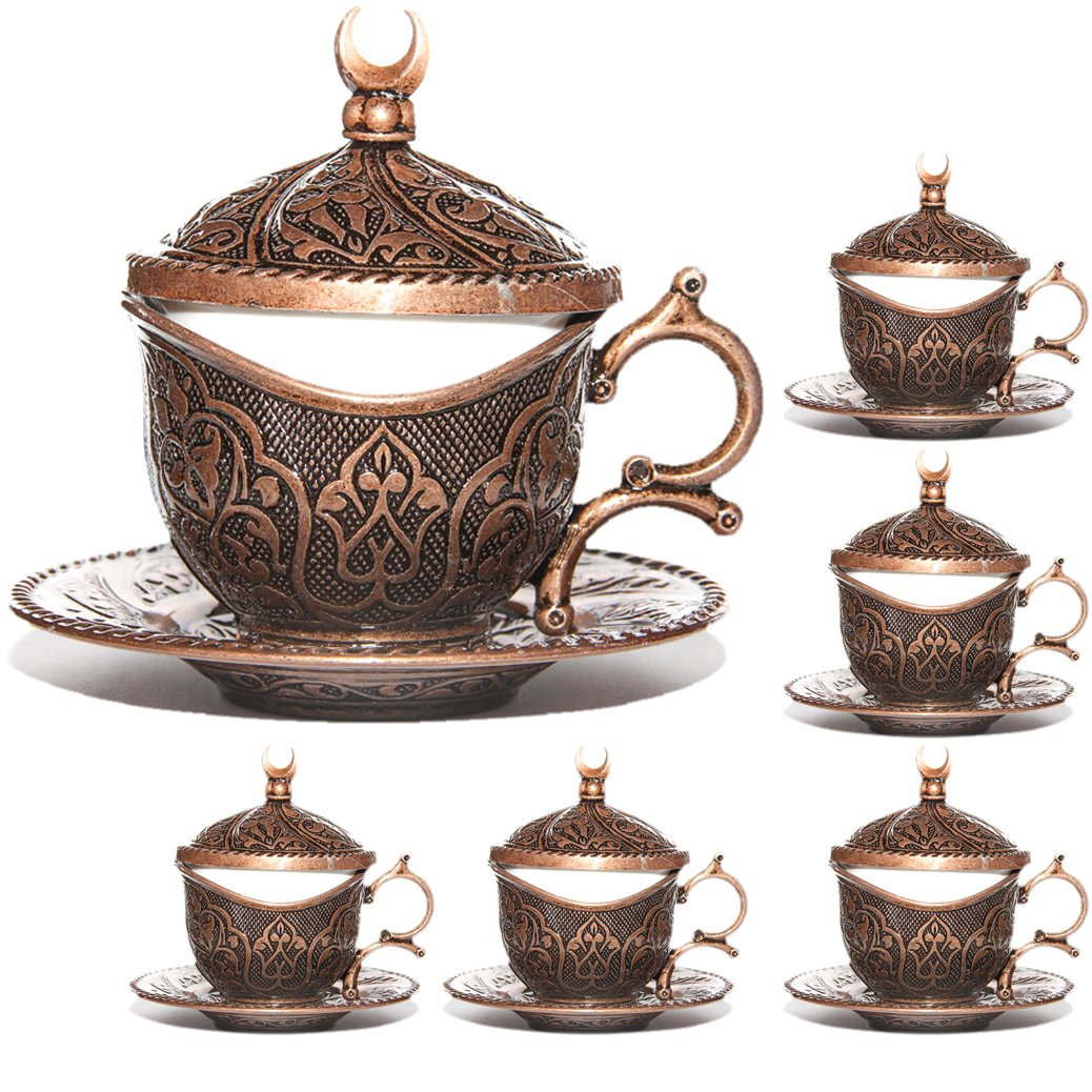 (SET of 6) Ottoman Turkish Greek Arabic Coffee Espreso Serving Cup Saucer (Kahveda) (Copper) Alisveristime 98072-11